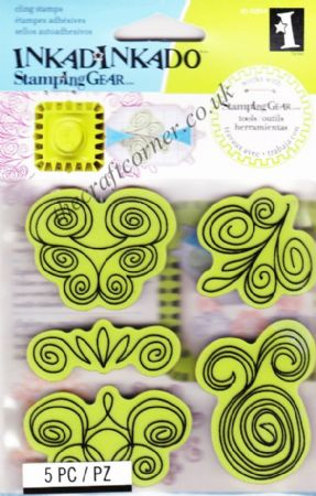 Doodle Swirls Cling Rubber Stamps Set From Inkadinkado